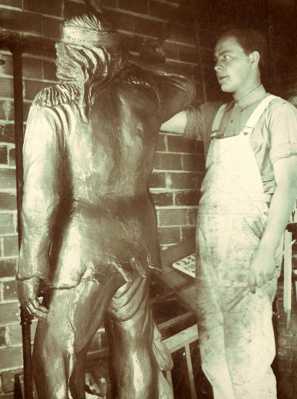 Les Kouba's First Statue of Little Crow in 1937