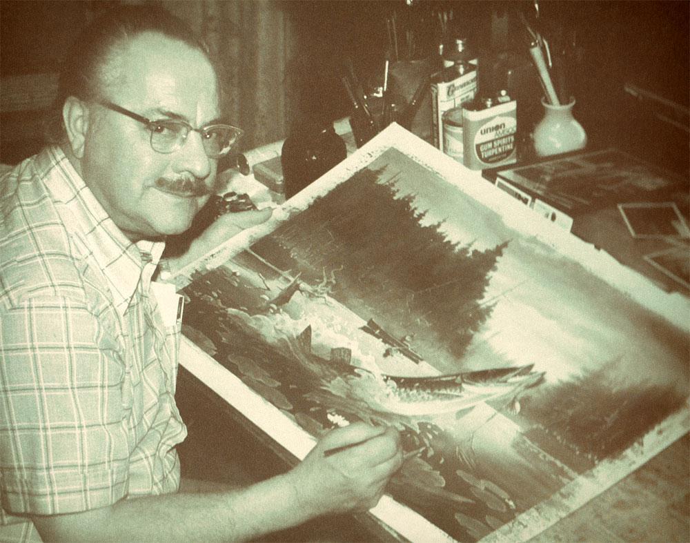 Les Kouba painting a Muskie
