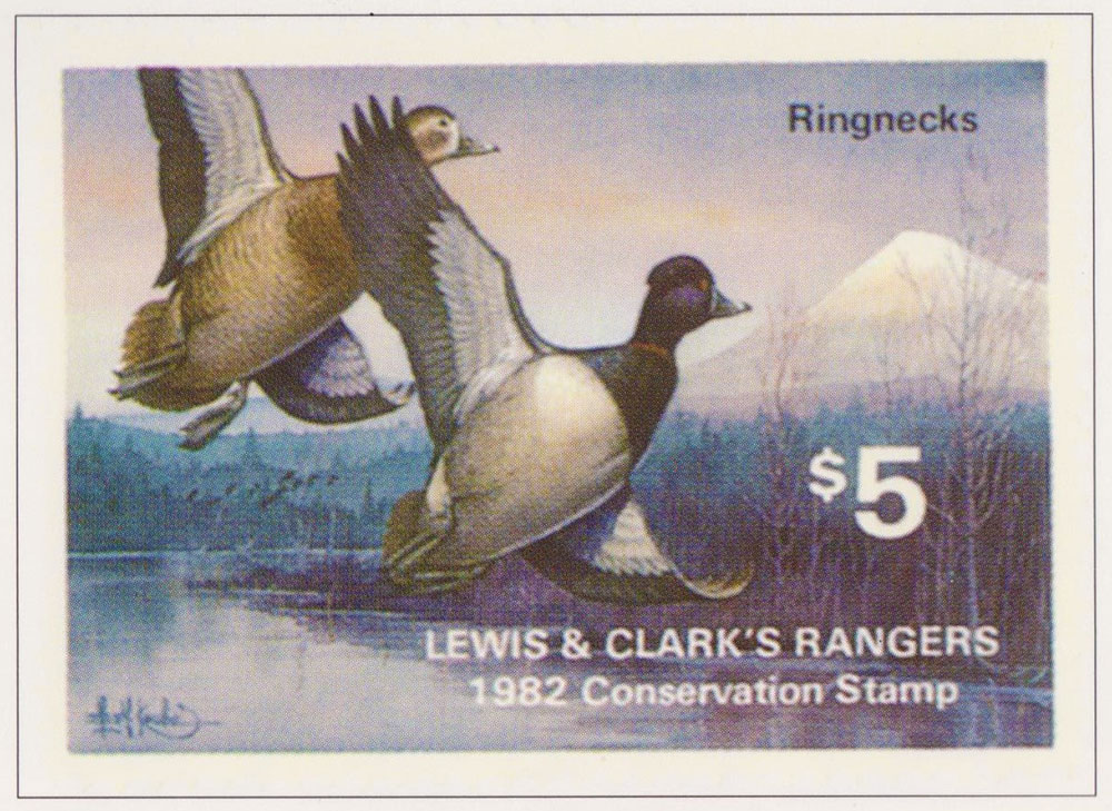 Les Kouba Designed Lewis and Clark Ranger Stamp from 1982