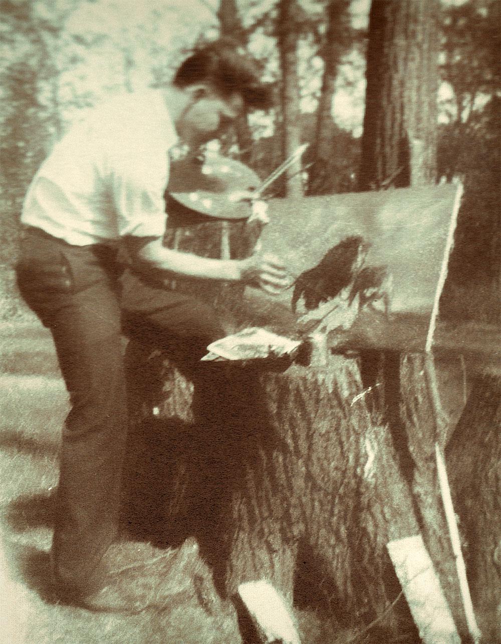 Les Kouba painting at age 16